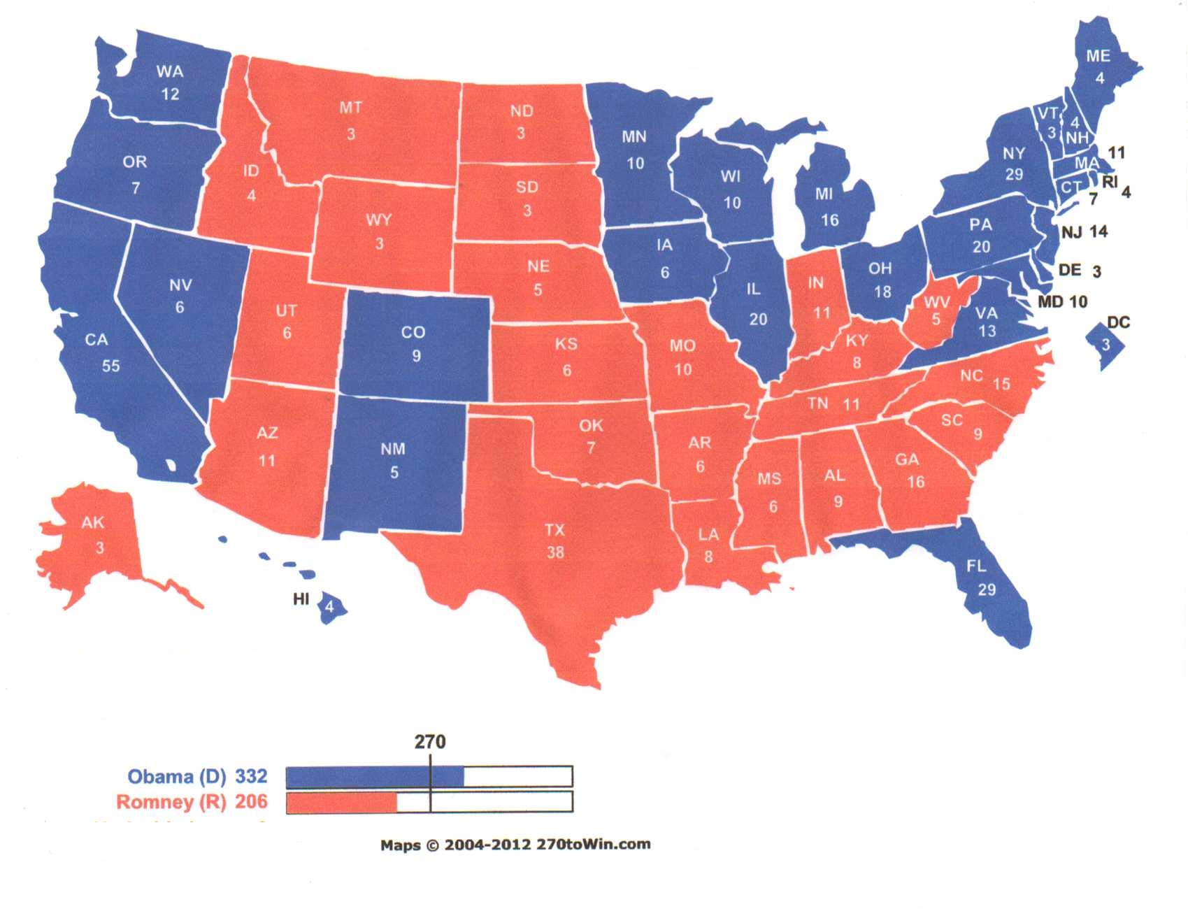 latest electoral projections Take a look at the electoral college map from 2012, the starting point for considering this year's election there are 10 states that have changed hands at least once since 2000 barack obama carried eight of them in 2012 in the course of winning 332 electoral votes, 62 more than the 270 needed.