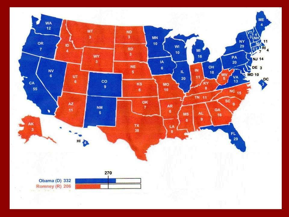 electoral college projection map 2012