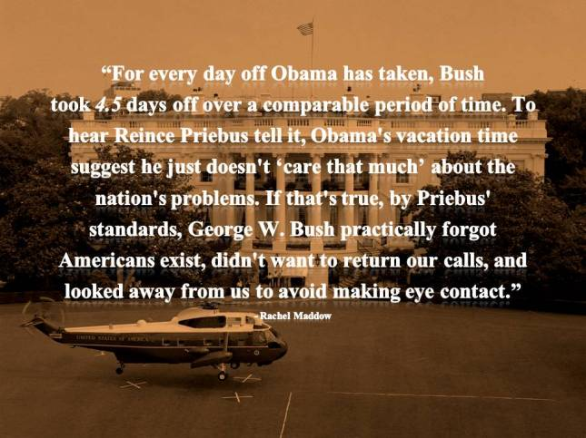 For every day off Obama has taken