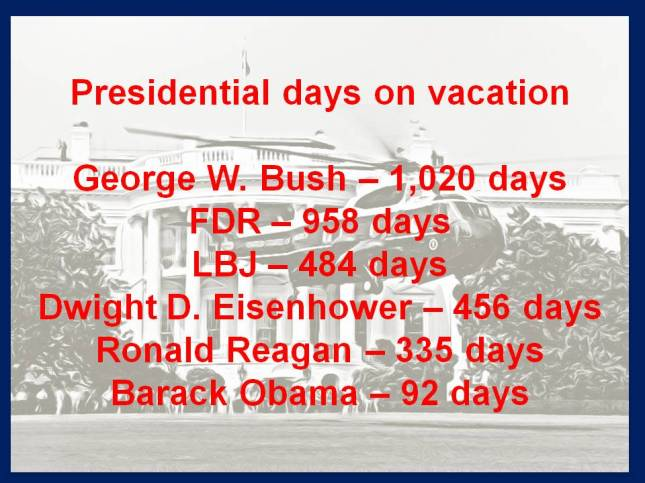 Presidential days on vacation